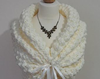 Autumn Wedding Shawl, Bridal Cover Up, Romantic Crochet Shawl, Ivory Wrap, Soft Bridal Cape, Spring Wedding Bolero Jacket, Ivory Capelet