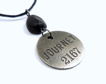 Journey Necklace, Inspirational Polymer Clay Word Pendant, Token Jewelry