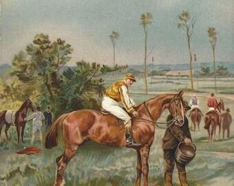 Avant le Départ - Antique 1900s Artist-signed Race Horse Postcard