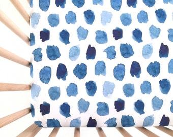 Crib Sheet Watercolor Navy Dots. Fitted Crib Sheet. Baby Bedding. Crib Bedding. Crib Sheets. Blue Crib Sheet.
