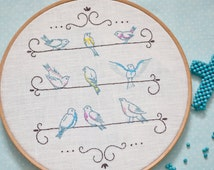 Hand embroidery pattern, Bird embroidery pattern, Shabby chic wall décor, hoop art, diy home décor, embroidery pattern pdf, birds_on_a_wire