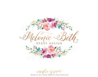 Watercolor Floral Logo - Custom Logo PreDesigned - Rose Gold Foil logo design - photography logo - Calligraphy Style Logo