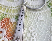 Spoon CHARM Key Chain Stamped with - survivor - Silverware Vintage Key Chain Hand Stamped & Ready To Ship