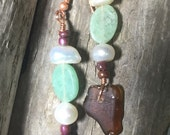Kodiak Island Sea Glass Earrings from Alaska with Copper, Freshwater Pearl, Glass and Stone beads.
