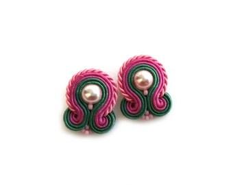 Soutache earrings - clip on earrings - post earrings - gift for boss - gift for coworker - gift for wife Valentines Day gift for girlfriend