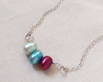 Raspberry & Turquoise Freshwater Pearl necklace.  June Birthstone