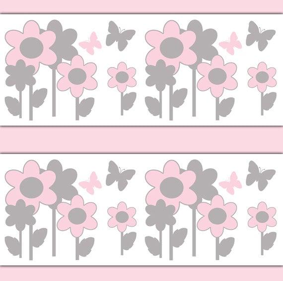 PINK GRAY NURSERY Butterfly Flower Garden Wallpaper Border