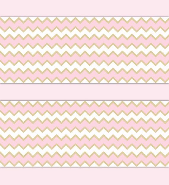 pink gold chevron wallpaper border decal wall art girl nursery