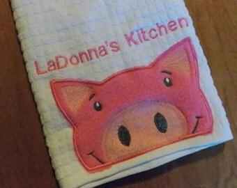 Pig Kitchen Towel Farm Kitchen Decor Kitchen Decoration Hostess Gift  Personalized Kitchen Towel Monogrammed Kitchen Towel
