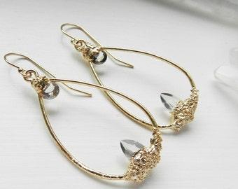 rose quartz earrings, zircon earrings,  rose quartz, druzy earrings, hoops, hoops earrings, gold earrings, gold hoops ,gemmy
