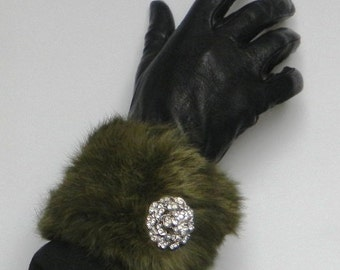 Pair Genuine Fur Cuffs with hand made Brooch - Cufflink