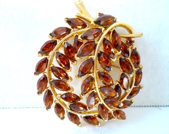 Signed Crown Trifari 1950s Amber Navette Rhinestone Brooch 1950s Vintage Jewelry