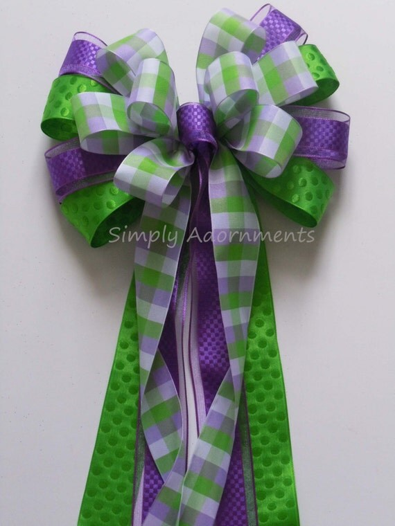 Purple Lime Wreath Bow Purple Green Plaid Spring Wreath Bow Spring Plaid Door Hanger Decor Purple Green Wedding Aisle decorations