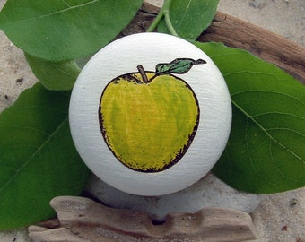 Apple knob furniture knob furniture knob works for wood - furniture - apple - oak - hand-painted