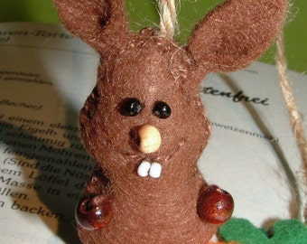 Bookmark rabbit & carrot felt - for bookworms - bookmark - carrot - rabbit - felt