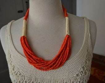 Vintage Coral Bone Necklace
