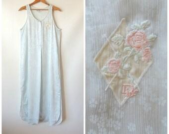 80s Dior Nightgown / Pale Blue Floral Print / Silky Nightgown / Sleeveless Maxi Night Gown / Ice Blue Nightgown / Christian Dior / Medium