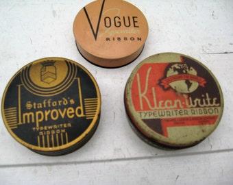 Vintage Typewriter Ribbon Tins - Three Vintage Typewriter Ribbon Tins - Vogue, Staffords and Klean-Write Typewriter Tins
