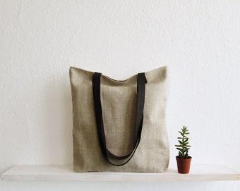 Linen Tote bag, Large tote bag, Natural linen, Casual bag, Shopperbag, Large tote