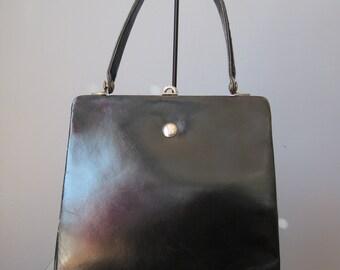 Coblentz Kelly Bag / Vtg 50s / Made in France by Coblentz / Black Leather Kelly Bag