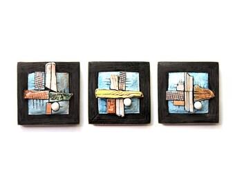Ceramic wall art ( set of 3) , Ceramic art objects, Modern ceramic wall art, Original ceramic, Abstract Geometric ceramic.