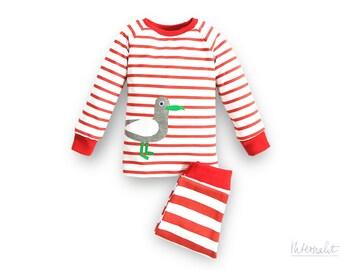 girls sleepwear, toddler girl pajama, girls pjs, girls 2 piece pajamas, toddler organic cotton sleepwear, striped jersey pajama, seagull