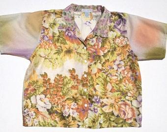 Vintage Scarf Floral Blouse