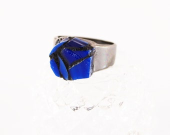 US Size 8.5 Ring, Mosaic Ring, Blue Stained Glass Ring, Glass Ring, Healing the Broken Jewelry, Silver Tone Band Ring, You are not Broken