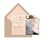 RESERVED for Caroline - Save the Date Invitation - Gold and Blush Bokeh Save the date - Golden Lights Invitation