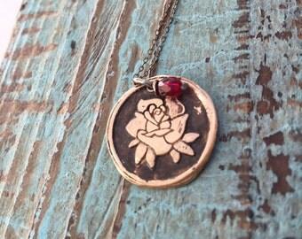 Bronze Rose Necklace