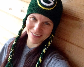Crochet hat Green Bay Packer Inspired Big G Ear Flap Braided Tassel Hat Photo Prop Baby Child Adult