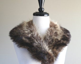 Stunning Full Brown Fur Vintage Dress Shawl / 1940s 1950s