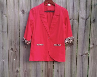 S Small Vintage 80s 90s Lightweight Red Leopard Print Sexy Chic  Blazer Jacket