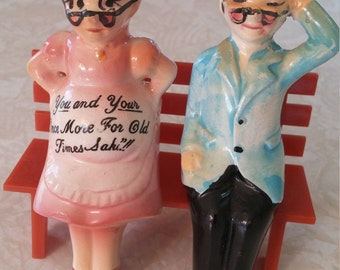 "Enesco Salt and Pepper Shakers ""You and Your Once More For Old Times Sake"" Grandpa & Pregnant Granny On Park Benchby Enesco Imports Japan"
