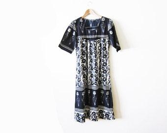 Indian Block Print Dress / Black Bohemian Sundress /  India Cotton Dress