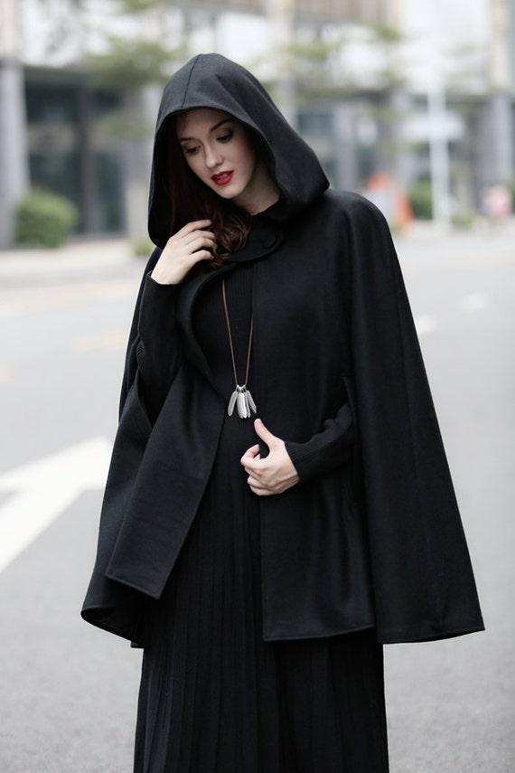 Black Hooded Wool Coat wool Cloak Cape Cashmere Women Wool