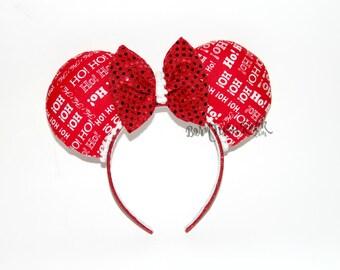 Santa Mouse Ears // Christmas Mouse Ears // Ho Ho Ho Mouse Ears // Holiday Mouse Ears // by Born Tutu Rock