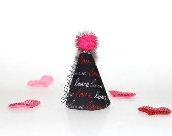 Mini Valentine's Day Party Hat // LOVE Party Hat // Ready to Ship // by Born TuTu Rock