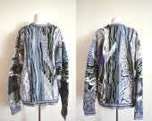 Vintage Authentic Coogi Sweater, Grey 3D Textured Sweater, Size L, 1980s Oversized Sweater