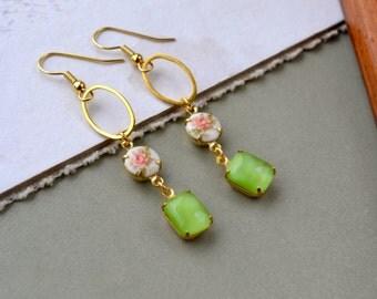 Long Gold Earrings, Vintage Style Earrings, Green & White Floral Jewelry, Limoges Dangle Earrings, Girlfriend Gift, Glass Drop Earrings, UK