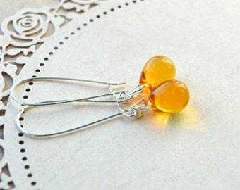 Yellow Earrings, Glass Bead Earrings, Yellow Jewelry, Czech Glass Earrings, Drop Earrings, Long Dangle Earrings, Teardrop Earrings, UK shops