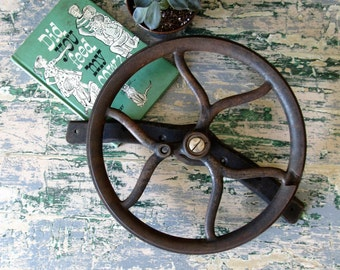 Vintage industrial cast iron wheel, iron gear, industrial decor.