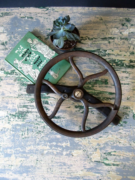 Cast Iron Wheels And Gears : Vintage industrial cast iron wheel gear