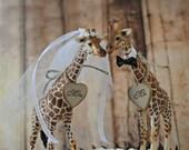 Giraffe wedding cake topper jungle safari zoo circus themed wedding bride and groom Mr and Mrs wedding sign kissing animal decorations lover