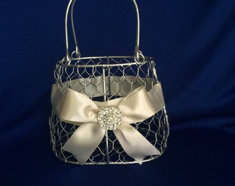 silver  flower girl basket purse with ivory ribbon and brooch purse basket for junior bridesmaid