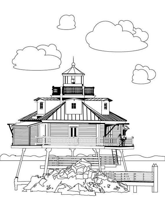 Thomas Point Lighthouse Stress Relief Coloring Page For Adults Printable Instant Digital Download Relaxing