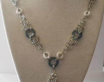 Glass Mesh Becklace in Sterling Silver