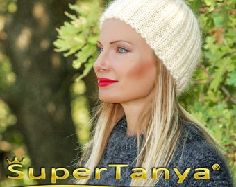 SUPERTANYA mohair beanie fuzzy mohair hat in ivory by SuperTanya