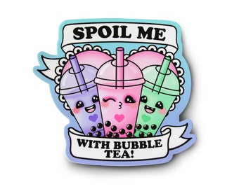 Kawaii Bubble Tea Sticker - Fairy Kei, Kei, Kawaii Sticker, Soft Grunge, Pastel Grunge, Grunge Sticker