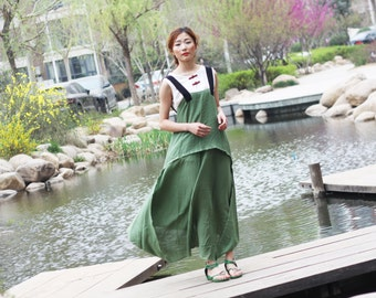 green linen maxi dress linen cotton maxi dress long dress vest dress